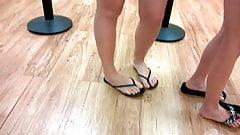 Candid Sexy 19yo Feet in Flip Flops Standin