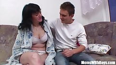 Busty Mature Couch Sex With Her Stepboy