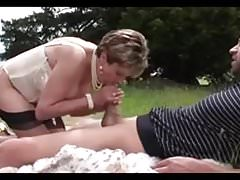 Lady Sonja fucks a dude in the great outdoors
