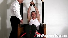 Tied up gay sub feet tickled by his perverted sex master