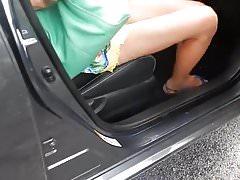 Car Upskirt yellow mini skirt of my wife.mp4