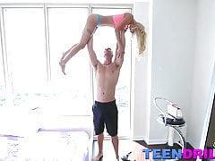 Petite blonde teen babe Uma Jolie nailed by the huge dick