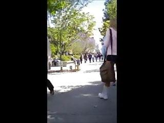 Candid University Blonde Butt in Spandex