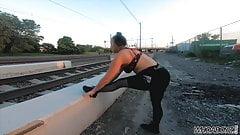 fucking a big booty slut in the public train yard