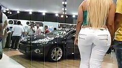 PAWG blonde in tight white jeans part 2