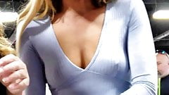 Hot Candid Blonde with nice see through nipple top