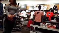 Candid voyeur teen wearing no bra poking