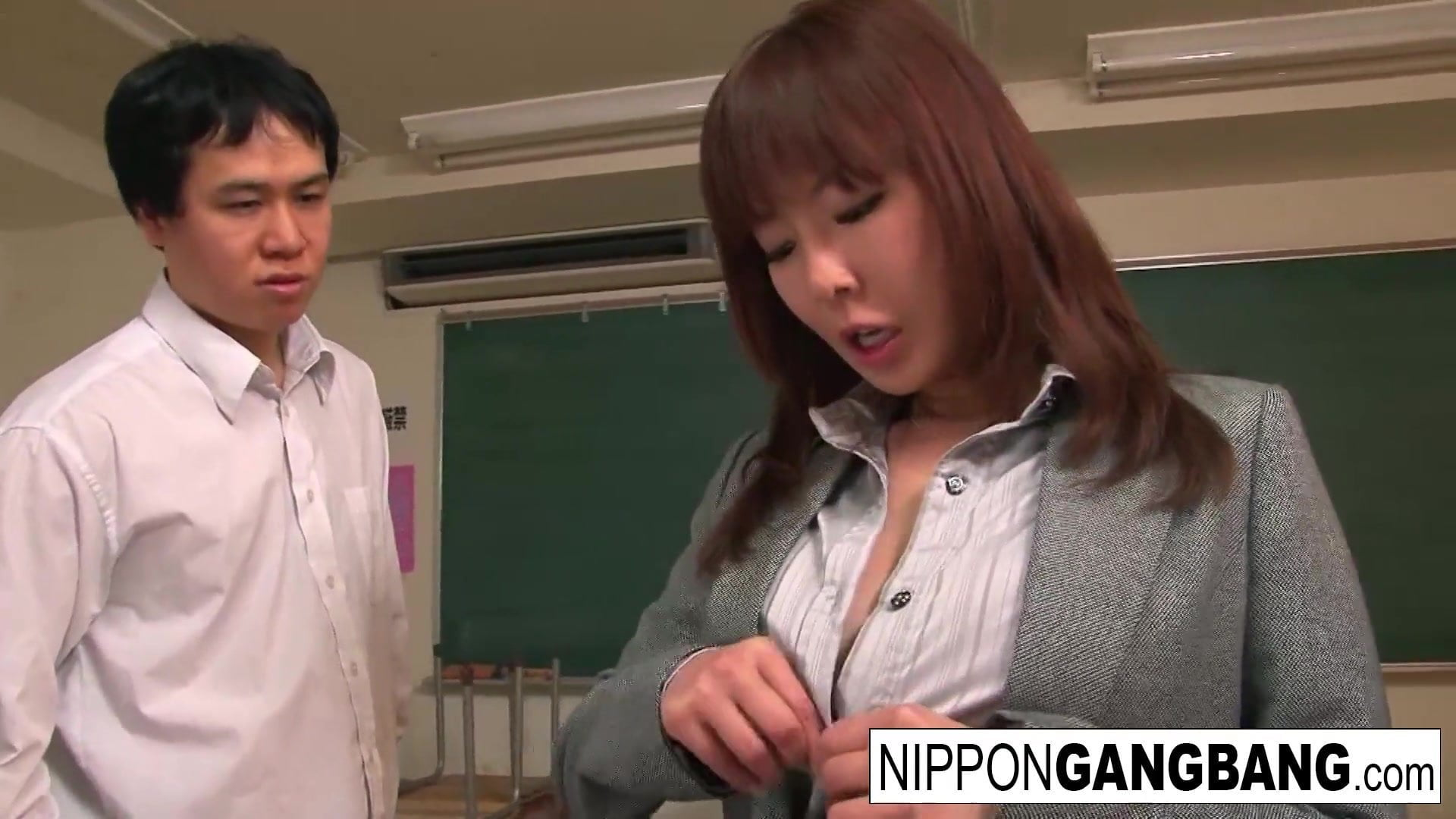 Stunning Japanese babe is gangbanged within the classroom