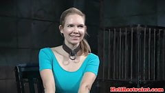 Busty bonded slut gets wet while analy pumped