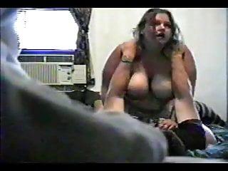 Hidden cam showing BBW Ex Girlfriend riding cock