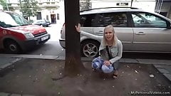 Sexy Blonde Pissing In Public