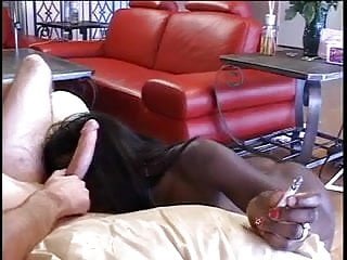 Preview 5 of Dark black chick sucks big white cock