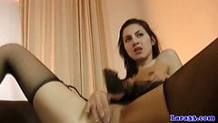 Petite glam euro babe in lingerie riding old cock