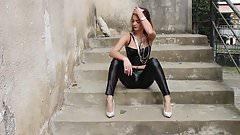 black wetlook leggings and corset