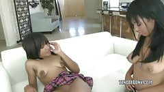 Teen hottie Tess shares her dildo with lesbo slut Momoko