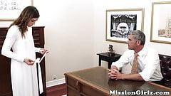 Afraid Mormon gal strokes hairy pussy in front of a deviant