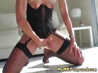 My MILF Exosed Mature wife in fishnets with clean shaved pus