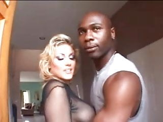 Busty girl gets two big black cock