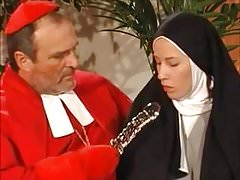 Young nun Justine gets tight holes fucked by monk