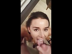Super hot girl fucked and swallows cum