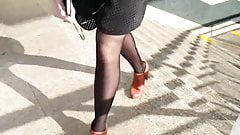 candid pantyhose in bus stop 153