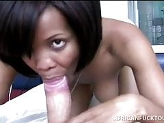 Young ebony girl sucks big white dick