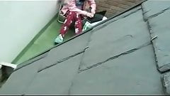 Spying my girlfriend masturbating on terrace