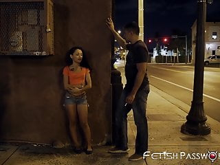 Sweet young Holly Hendrix tied up and doggystyled in public