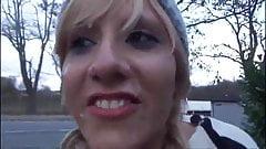 Blonde public deepthroat cumshot