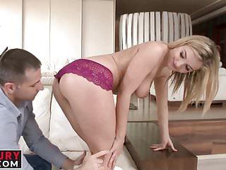 Blonde Bombshell Jemma Valentine deepthroats a hard cock