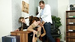 Glamorous euro ladies fuck guy at office