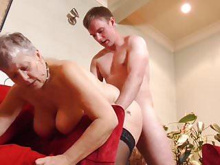 Boy having sex with busty British granny