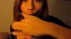 Cute brunette close-up blowjob and facial