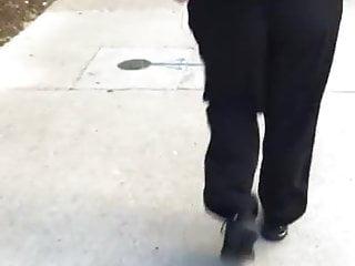 Chubby booty milf in black track panic vpl 2
