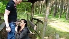 German couple wild outdoor sex