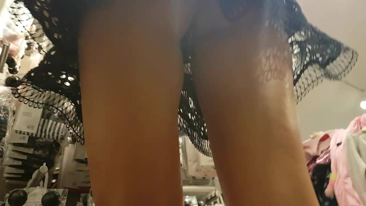 Blonde russian milf upskirt thong