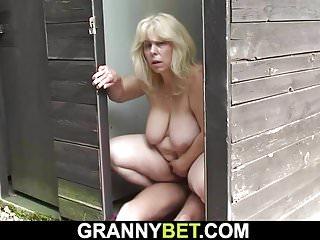 Blonde granny rides stranger  039 s cock on public