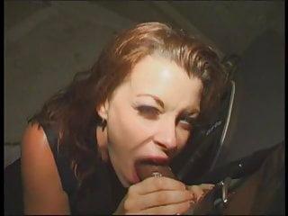 Nasty white whore wraps her pretty lips around a massive black cock