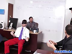 Hunky employee trio with boss and stripper