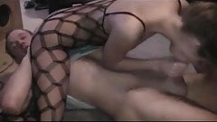 brunette amateur fucked in catsuit with creampie