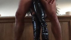 Platform boots handjob in the mirror