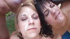 2 girls in a bukkake