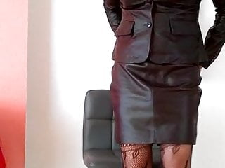 Preview 5 of Coming home in leather suit from office