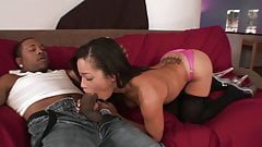 Black stud with a huge schlong nails a hot brunette