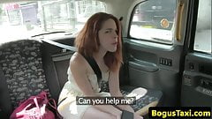 Redhead euro pussyfucked in taxi
