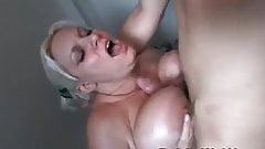 Blonde chubby fucked hard in the bathroom