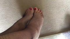 Fishnet Feet Stroking Dildo