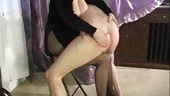 cock beetween pantyhosed legs while spanked