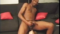 Mature blonde babe drops to her knees and deep throats a hard black cock