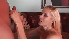 Bubbly blonde gets her cunt ready for hunk's dick